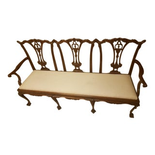 19th C. Chippendale Mahogany Settee For Sale