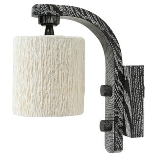 Paul Marra Oak Sconce with Cotton Chenille Shade For Sale