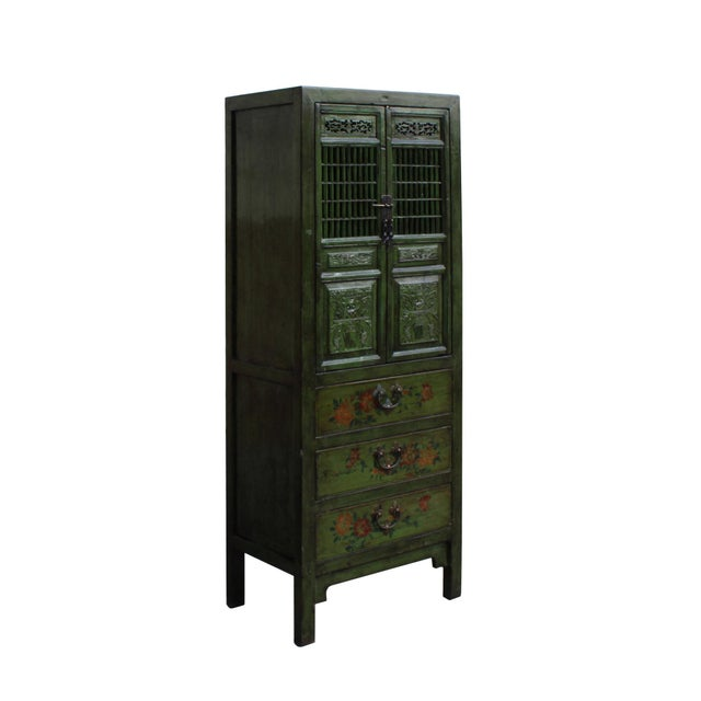 Chinese Distressed Green Narrow Wood Carving Storage Cabinet - Image 2 of 7