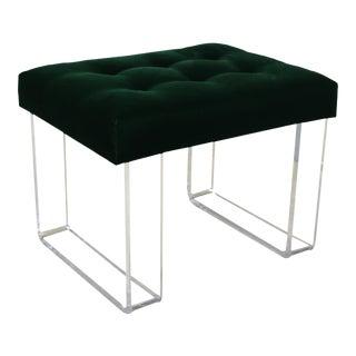 Infinity Style Green Velvet & Lucite Bench For Sale