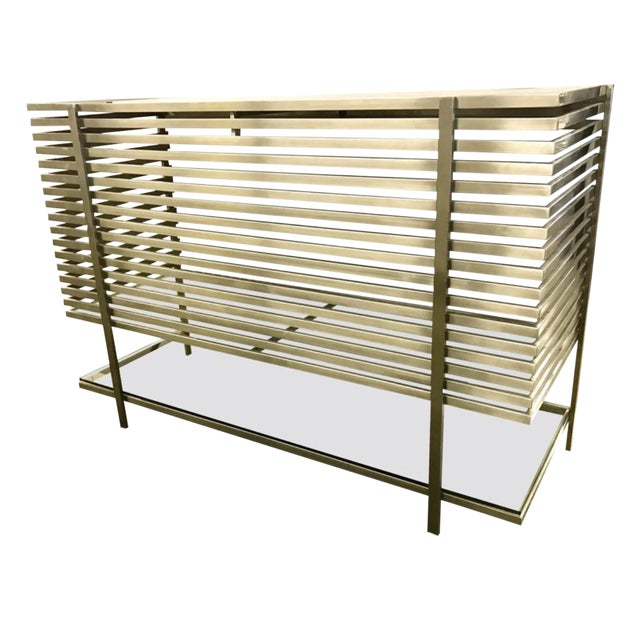 Mid-Century Modern Style Laser Cut Steel, Glass and Chrome Dry Bar For Sale