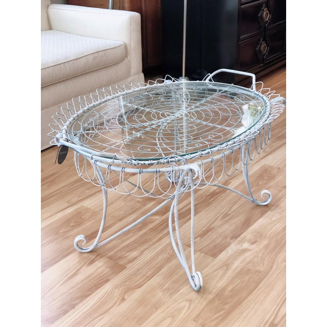 Metal Shabby Chic Wire Tray Table For Sale - Image 7 of 7
