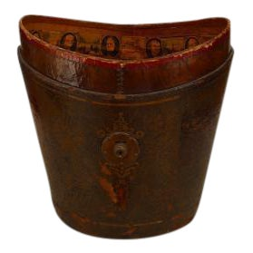 American (19th Cent) dark red leather fire bucket