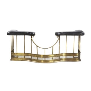 Antique English Brass & Black Leather Fireplace Club Fender For Sale