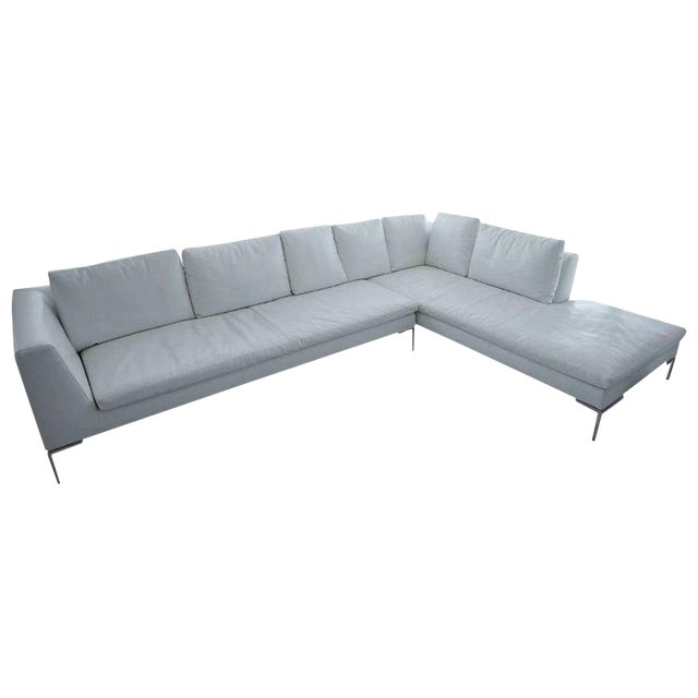 B & B Lucrezia Sectional Sofa in White Leather