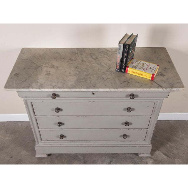 Antique French Painted Louis Philippe Chest of Drawers with a Marble Top circa 1850 For Sale - Image 10 of 11