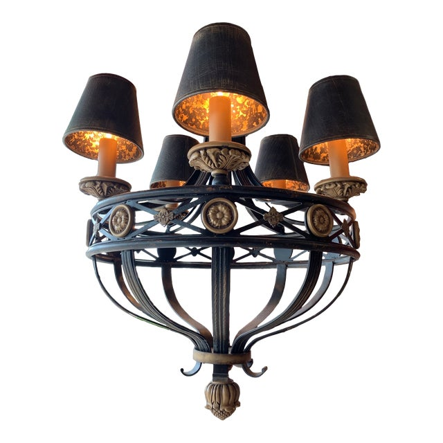 Fine Art Lighting Chandelier Bronze & Gold 5 Lights For Sale