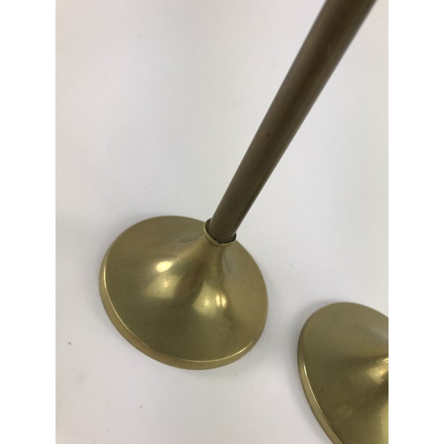 Mid-Century Modern 1960s Slender Brass Candlesticks - a Pair For Sale - Image 3 of 8