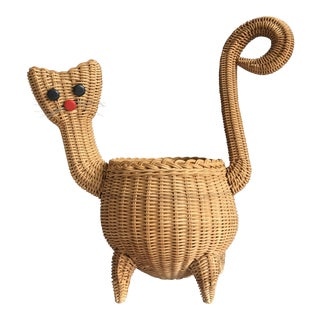 Mid-Century Wicker Cat Basket For Sale