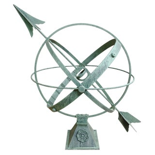 Large Iron Spherical Armillary With Verdigris Patinated Finish For Sale
