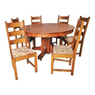Antique Arts & Crafts Mission Round Oak Dining Set - 7 Pieces For Sale