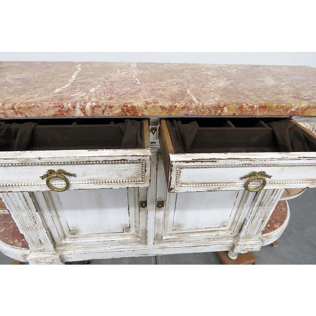 White Antique Marble Top Paint Decorated Sideboard For Sale - Image 8 of 10