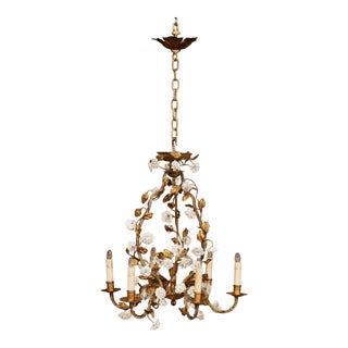 Early 20th Century French Six-Light Chandelier With Porcelain Flowers and Leaves For Sale