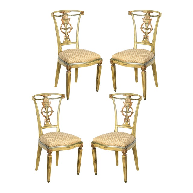 Italian Louis XVI Style Painted & Gilt Chairs - Set of 4 For Sale
