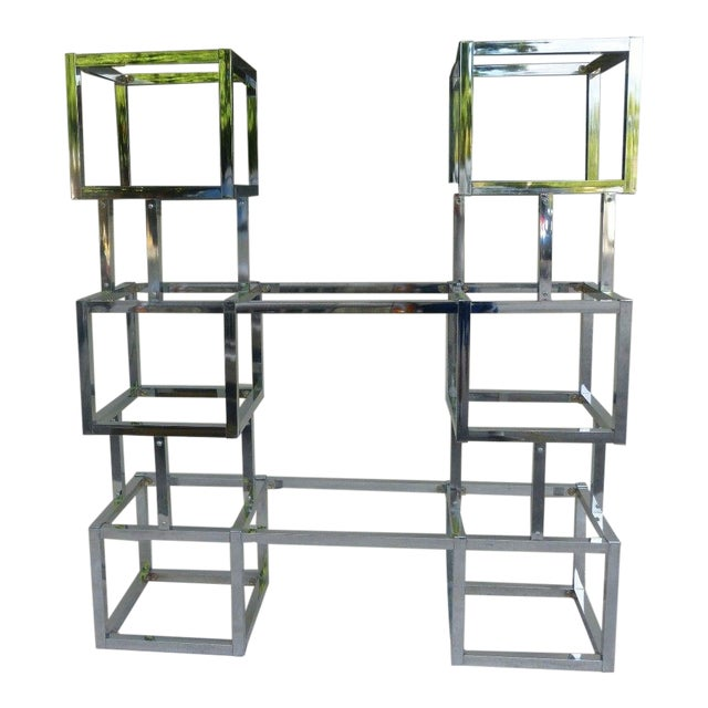 70's Mod Connected Double Chrome Box Tower Etageres For Sale