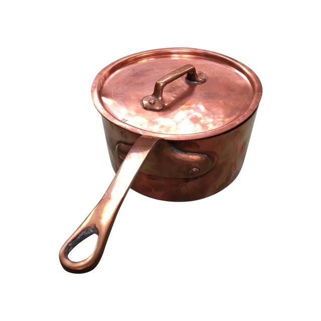 Bazar Francais Copper #14 Saucepan with Lid For Sale