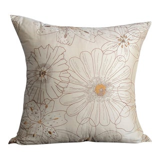 Sample Raw Silk With Embroidered Flowers Pillow