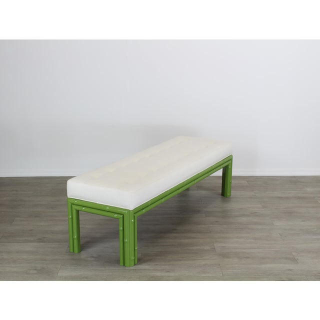 1970s Mid-Century Apple Green Faux Bamboo Bench With Linen Cushion, Green Bamboo Bench, Cream Linen Bench For Sale - Image 5 of 8