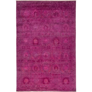 "Pink Over Dyed Hand Knotted Rug- 6' 2"" x 9' 4"" For Sale"