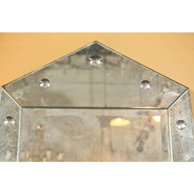 Late 20th Century Hollywood Regency Venetian Style Rare Pyramid Design Bevelled Mirror For Sale - Image 5 of 8