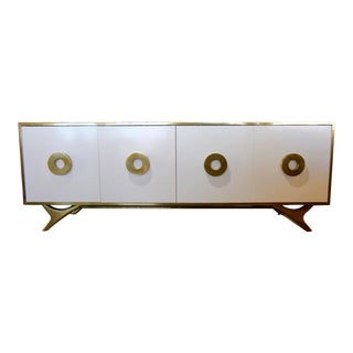 Bridges Over Time Originals Custom Prototype Cerused Oak Brass Lacquer Credenza For Sale