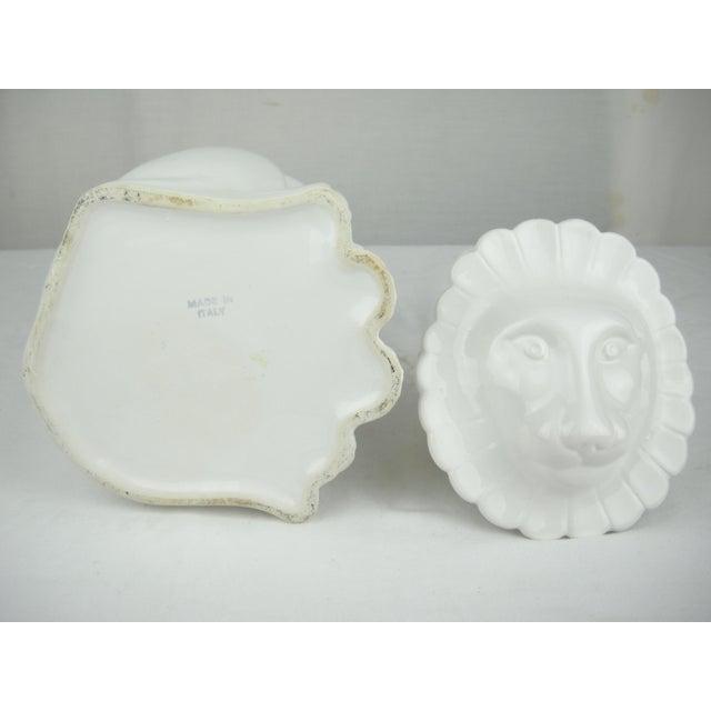 Vintage Italian Ceramic Lion Lidded Canister For Sale - Image 9 of 11