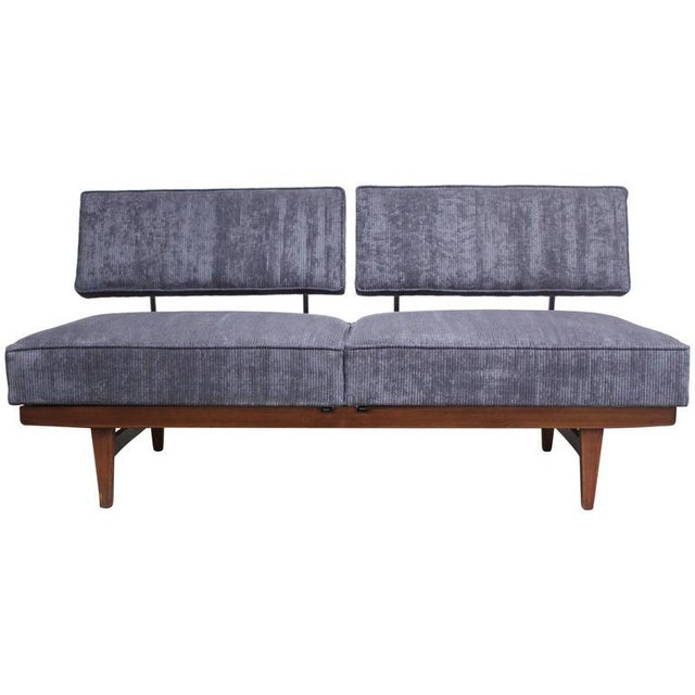Danish Modern Convertible Daybed/Sofa on Chrome and Walnut Base - Image 3 of 11
