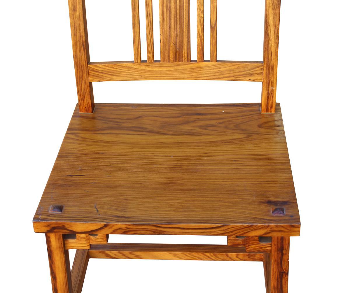 Genial Handmade Solid Zebra Wood Bar Chair   Image 6 Of 6