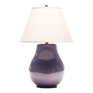 Lawrence & Scott Large Hu Hand-Turned Porcelain Table Lamp in Pinot Grigio Grape With Ash Glaze and Shade For Sale