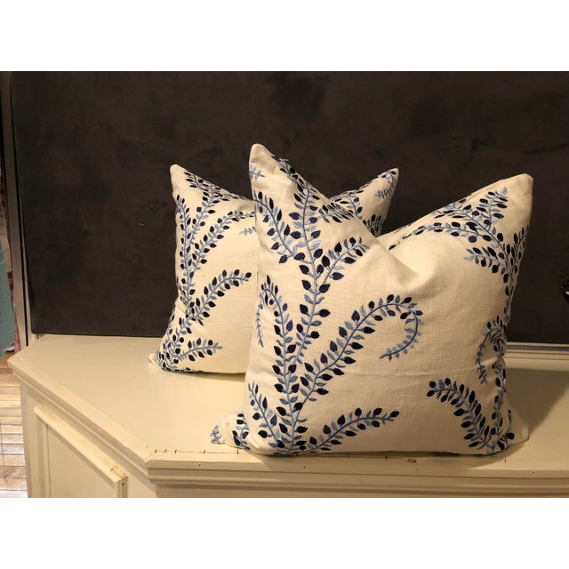 """Pretty in Blue"" Pillows - a Pair of Baris Chambray Embroidered by Duralee - Image 4 of 6"