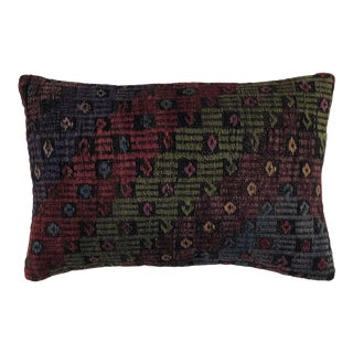 "Jewel Tone Kilim Lumbar Pillow | 16"" X 24"" For Sale"