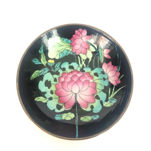 Lotus Flower Porcelain and Brass Bowl For Sale - Image 4 of 4