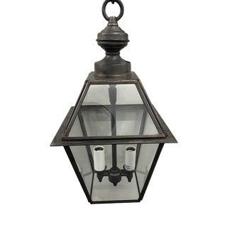 Custom Small Blackened Antique Brass Pendant Lantern For Sale