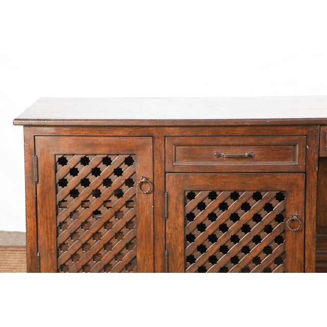 Moroccan handcrafted and custom-made 9 feet dresser, desk, very decorative with nice intricate Moorish motifs on doors and...