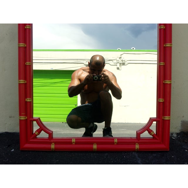 Mid-Century Modern Vintage Red Lacquered Bamboo Style Mirror For Sale - Image 3 of 3