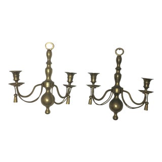 Hollywood Regency Brass Candleholder Wall Sconces, a Pair For Sale