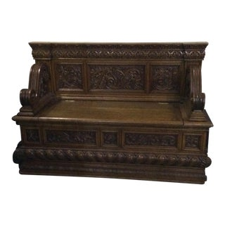 Victorian Carved Oak Bench Manner of Rj Horner