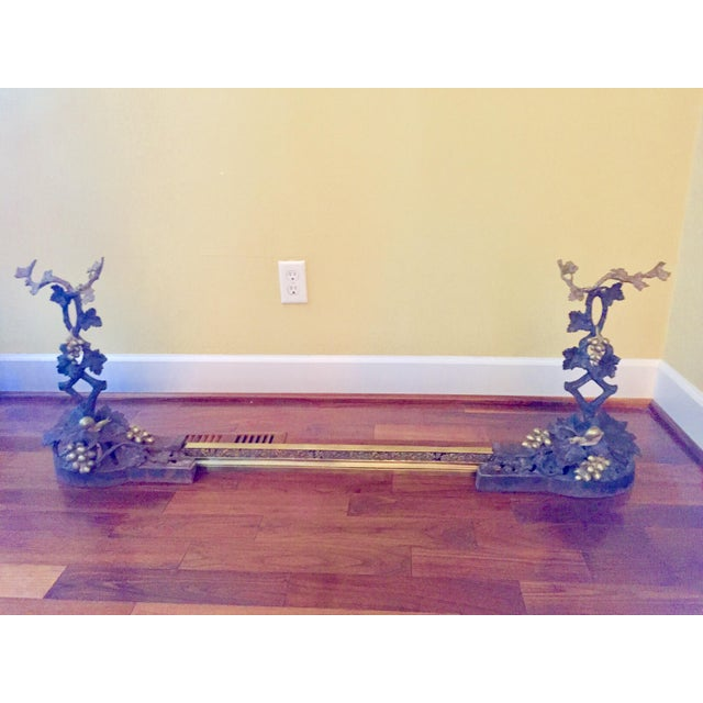19th Century Bronze & Brass Chenets With Fender - a Pair For Sale - Image 13 of 13