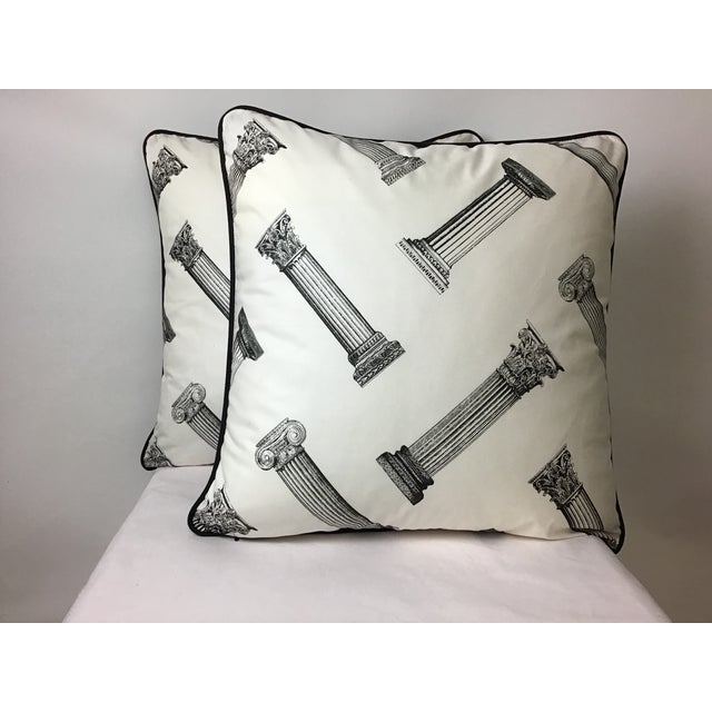 Cotton Printed Column Pattern Pillows With Black Canvas Backs - A Pair For Sale In New York - Image 6 of 6