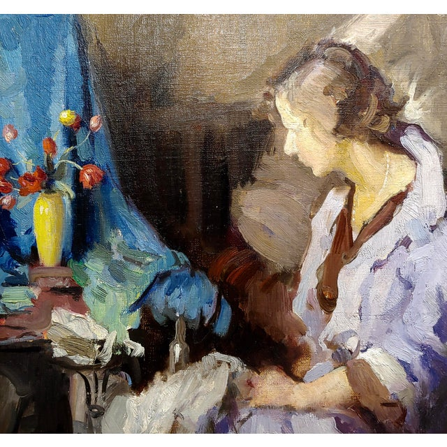 Gladys Nelson Smith - Woman in Purple Looking at Flowers- Beautiful Oil Painting For Sale - Image 4 of 11