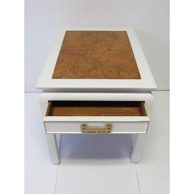 Century Burl-Wood & Lacquered Side Table - Image 5 of 6