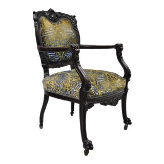 Mid 19th Century Mahogany Victorian Figural Carved Parlor Clawfoot Armchair