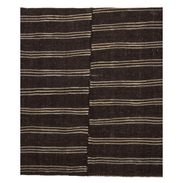 Textile 1960s Vintage Dark Brown Striped Kilim Rug- 9′ × 9′3″ For Sale - Image 7 of 7