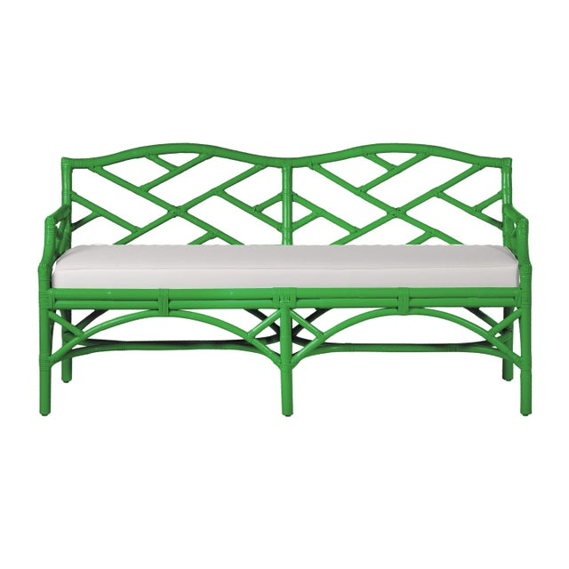 Chippendale Bench - Bright Green For Sale In West Palm - Image 6 of 6