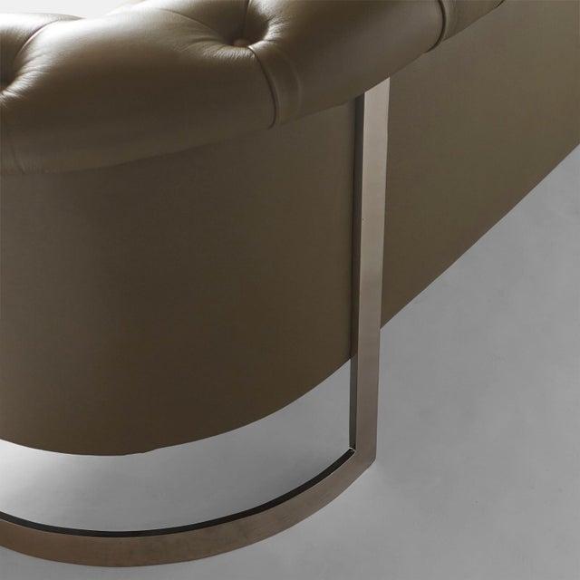 Animal Skin Milo Baughman Modern Chesterfield Sofa For Sale - Image 7 of 8