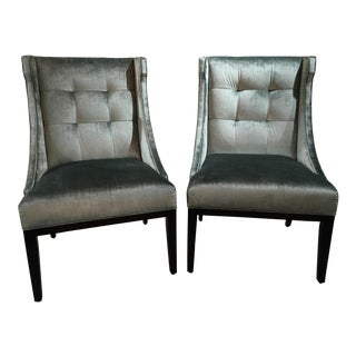 Designmaster Furniture Franklin Velvet Wing Chairs - a Pair