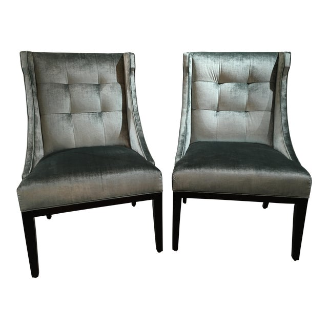 Velvet Designmaster Furniture Franklin Host Wing Chairs - a Pair For Sale