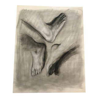 1990s Vintage Large Scale Study of Feet From Life Drawing Class For Sale