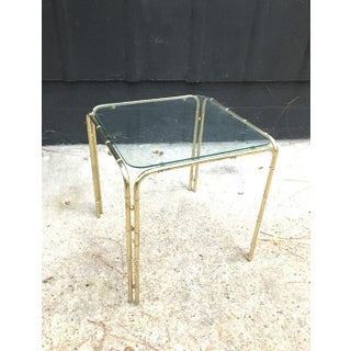 1970s Chinoiserie Brass Bamboo Glass-Top Table Preview