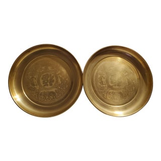 1940s Chinese Brass Tray/Wall Hangings - a Pair For Sale